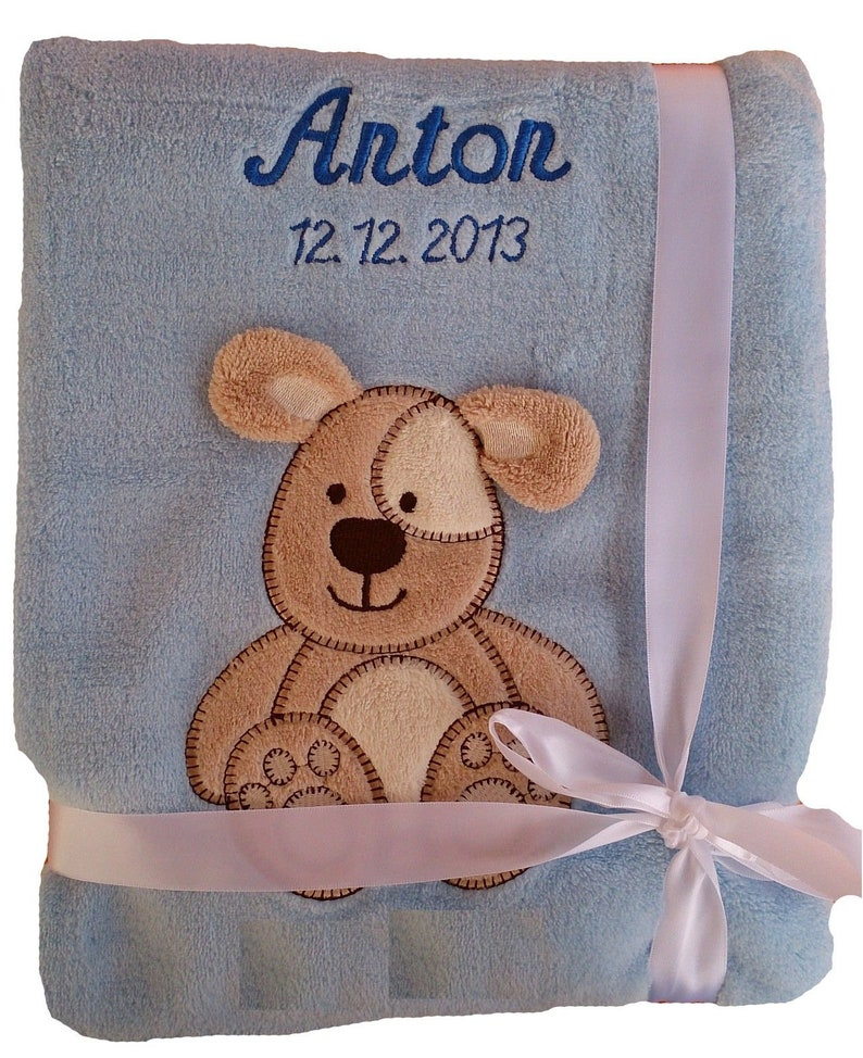 Baby blanket with name embroidered Blue Dog Baby Blanket