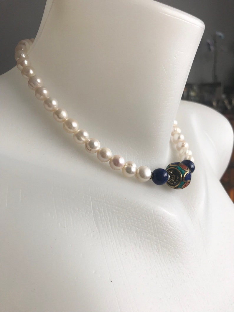 Beaded necklace Lapis necklace Pearl necklace Lapis Pearl necklace freshwater pearl
