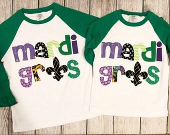 2d82589bd Mardi Gras shirt for kids, girls Mardi Gras raglan, shirt for Mardi Gras