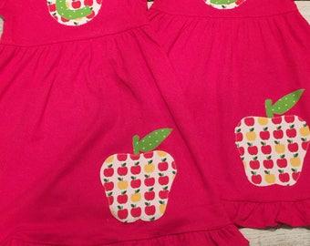 School dress, apple dress, back to school outfit, kindergarten dress, preschool outfit