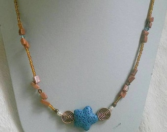 Navy Blue Starfish Necklace