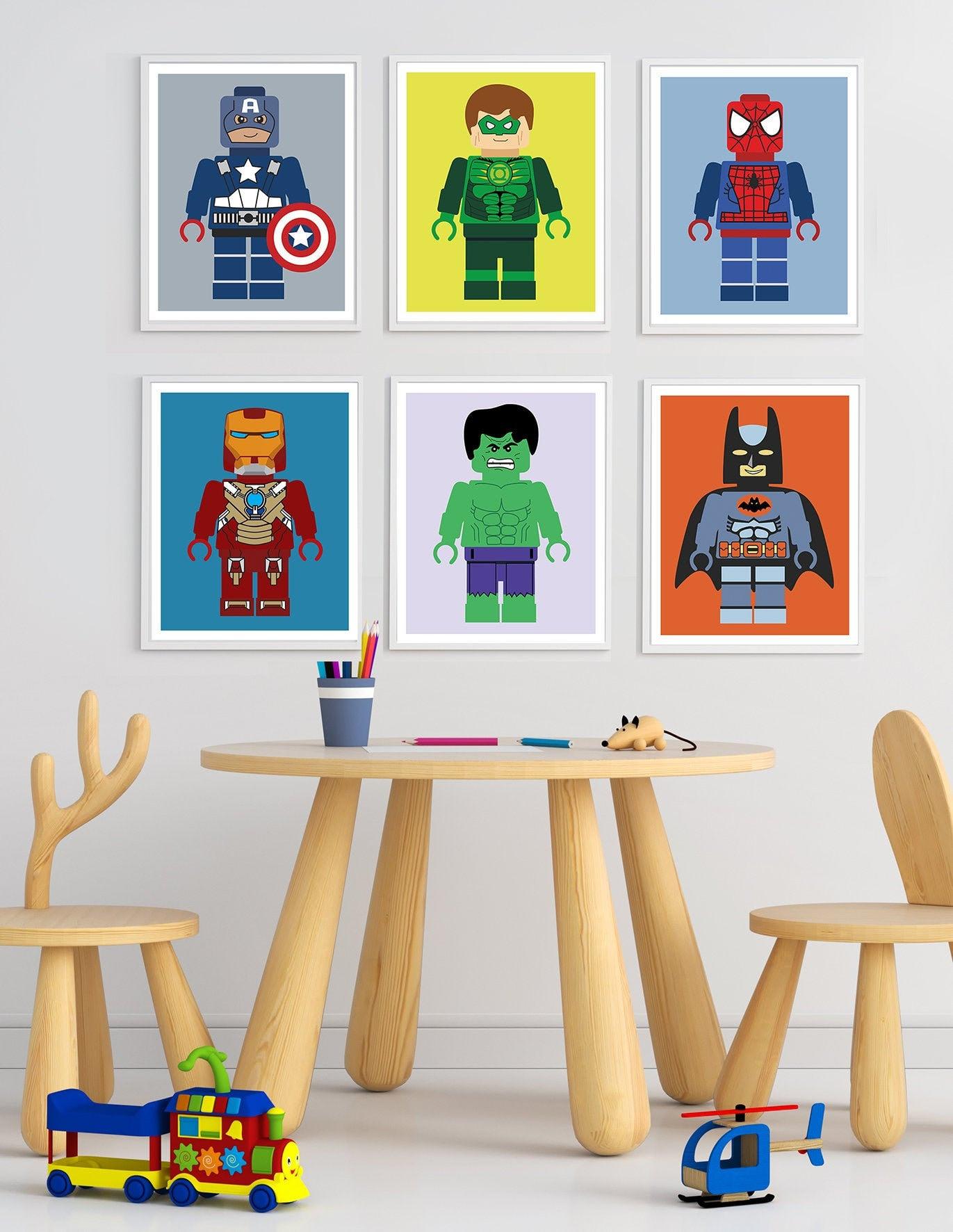 Superhero Prints, Printable Wall Art, Superhero Wall Art, Superhero Decor,  Superhero Wall Decor, Superhero Printables, Set of 6 Prints