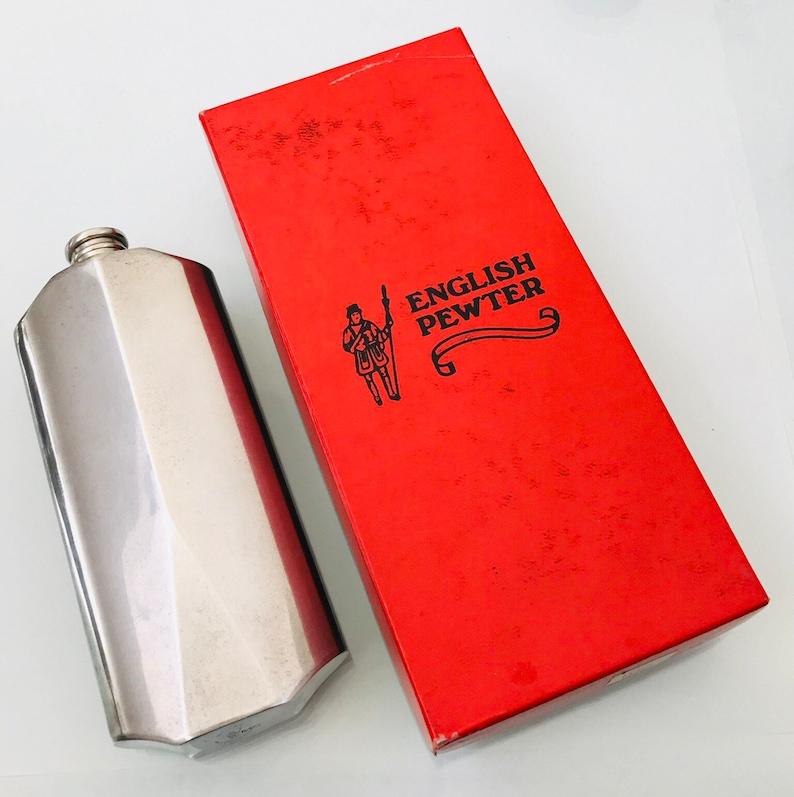 Cricket bat spirit flask~ a Vintage English Pewter spirit flask in the form  of a cricket bat with screw cap in makers box  Fun gift idea