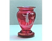 Vintage Squat Vase Mary Gregory Cranberry Glass Enamel Cameo Victorian Man w Cane Bird Bohemian or EAPG Bud Vase-Toothpick Holder-Egg Cup