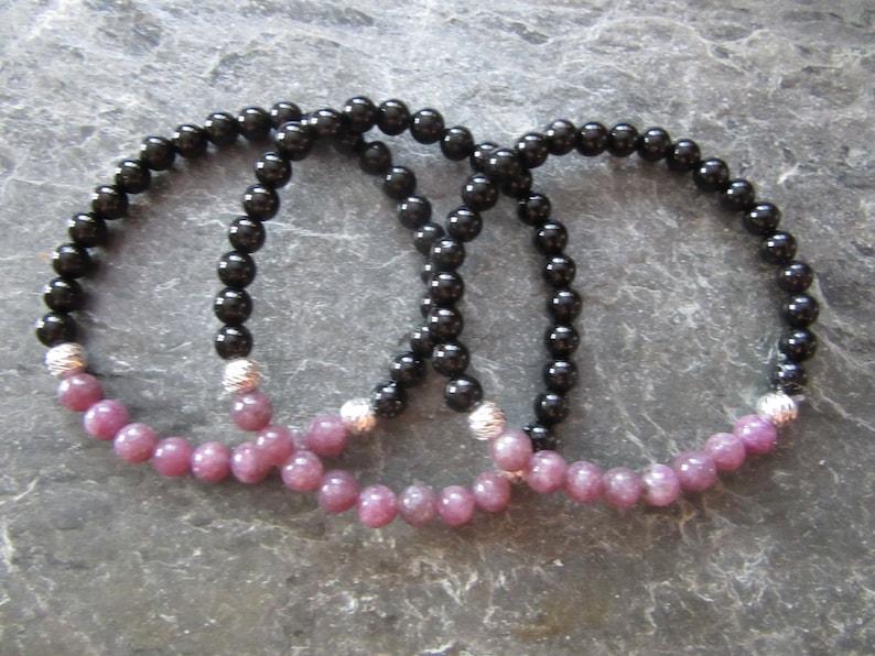Stretch bracelet silver sterling 925 beads 6mm The lepidolite and tourmaline bracelet 6mm 2 genuine stones Reiki infused