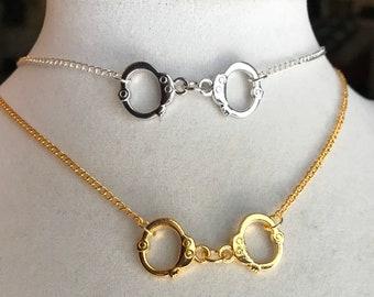 Handcuffs Chain Choker ~ Gold or Silver ~ Miniature Handcuff Charm Necklace