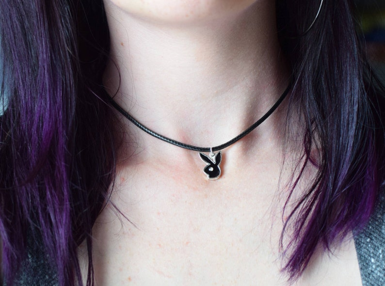538833719d58 Vintage Black Playboy Bunny Charm Choker or Necklace   Black