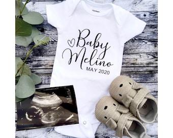 Pregnancy Announcement Baby Last Name Onesie