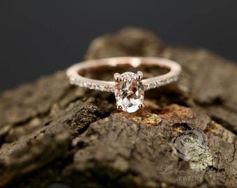 Morganite Diamond Ring 7x5mm/0.75 Carats Oval Cut Morganite 14K Rose Gold Diamond Engagement Ring (Other Metals and Other Stones Available)