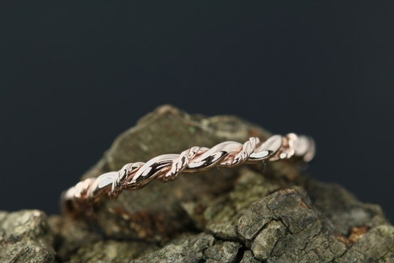 Connie 14k Rose Gold Plain Twist Matching Band Promise Ring Wedding Band Anniversary Ring Band (Bridal Wedding Set Available) by Etsy