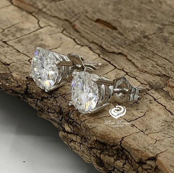 14K White Gold DF Color Moissanite Stud Earrings Push Back Classic Earrings