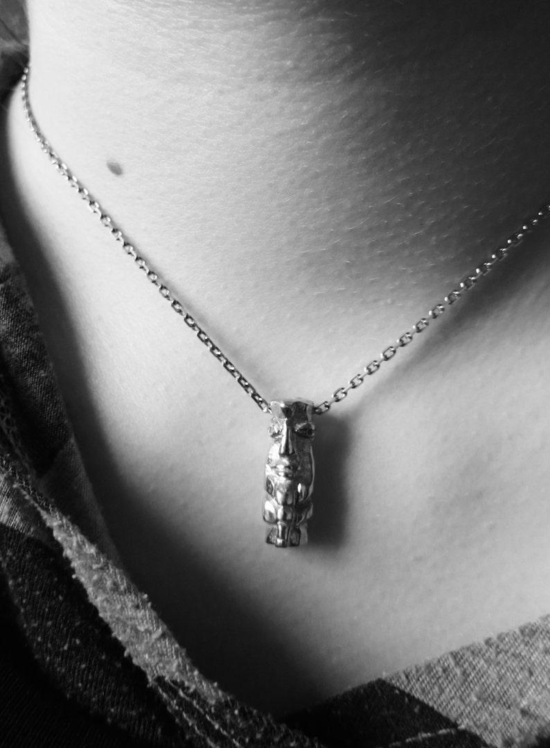 TIKI pendentive  pendant charm  necklace designed by Stephane de Blaye reclaimed silver.