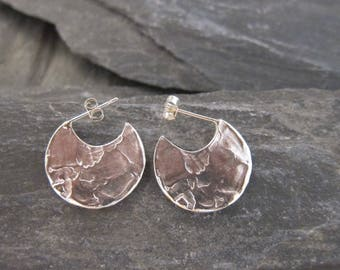 """Gold hoops earrings, Sterling silver, """"Etania"""" made in France, handcrafted."""