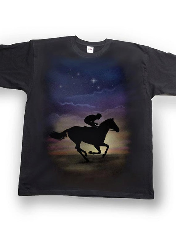 Airbrushed Horse Racing Hoody Horse Rider Racing Equestrian kids to Adult Sizes