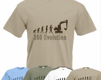 Evolution To 360 Digger t-shirt Funny Construction T-shirt sizes Sm To 2XXL