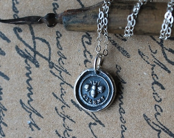 Be silent-Bee wax seal pure silver charm