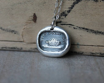 Do not hurry me-Turtle wax seal fine silver charm