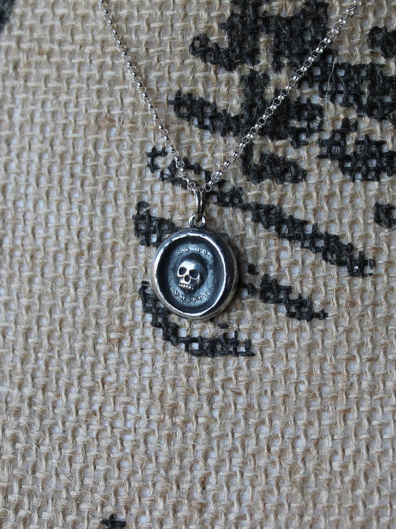 Memento Mori skull wax seal Latin motto fine silver charm sterling silver necklace