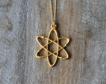 Atom molecule chemistry bright gold plated necklace
