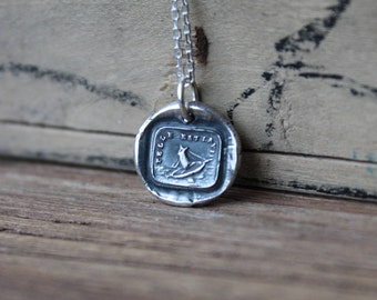 Such is life-Boat-ship wax seal oxidized fine silver charm
