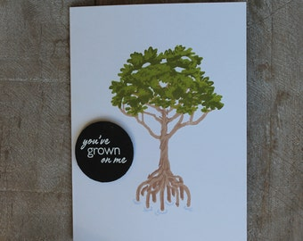 Tree hand stamped greeting card