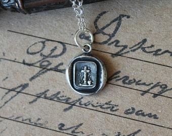 Faith hope love Cross anchor heart wax seal oxidized pure silver charm