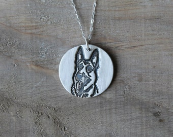 German Shepherd - Dog fine silver pendant
