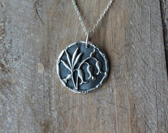 Lily - Lily of the Valley fine silver oxidized pendant