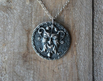 Gargoyle fine silver oxidized pendant