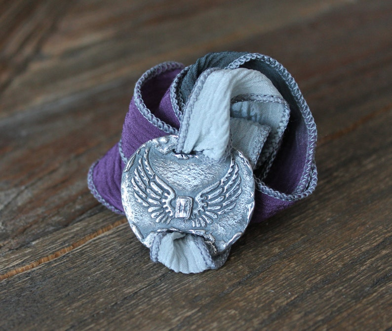 Wings and hourglass fine silver yoga wrap bracelet-hand dyed silk ribbon