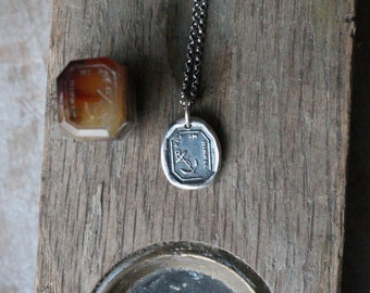 Only in heaven-Anchor wax seal fine silver charm