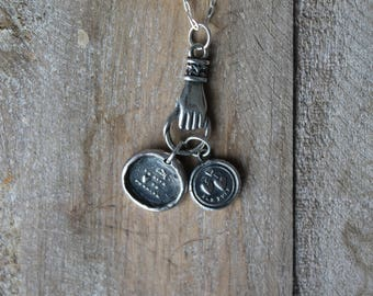 Friendship wax seal oxidized fine silver necklace