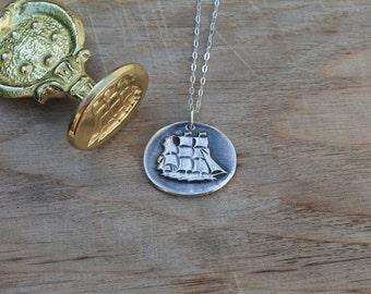 Ship - Boat wax seal fine silver pendant
