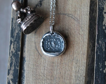 Just like love-Rose wax seal oxidized fine silver charm