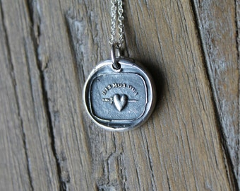 Tell me yes-Heart and dagger wax seal fine silver charm