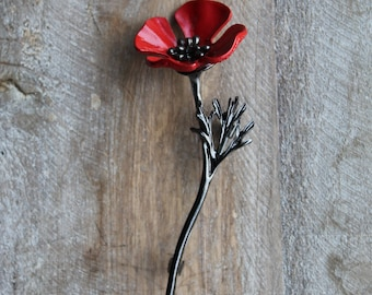 Red Poppy flower brooch