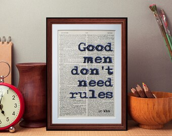 Dr Who quote  - dictionary page literary art print home decor present gift books