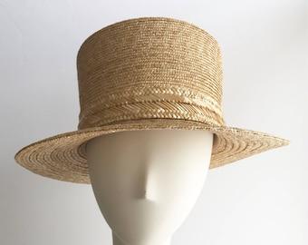 Wide Brim Straw Top Hat