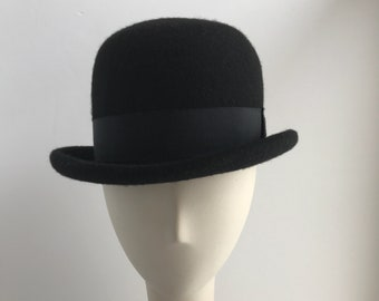 Black Bowler with Rolled Brim and Black Ribbon Trim