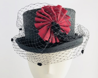 5a391ce4b6a Straw Black Low Top Hat with Red Ribbon and Veil