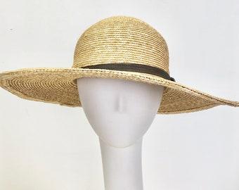 9a7da59c0977a9 Wide Brim Straw Sun Hat with Black Trim