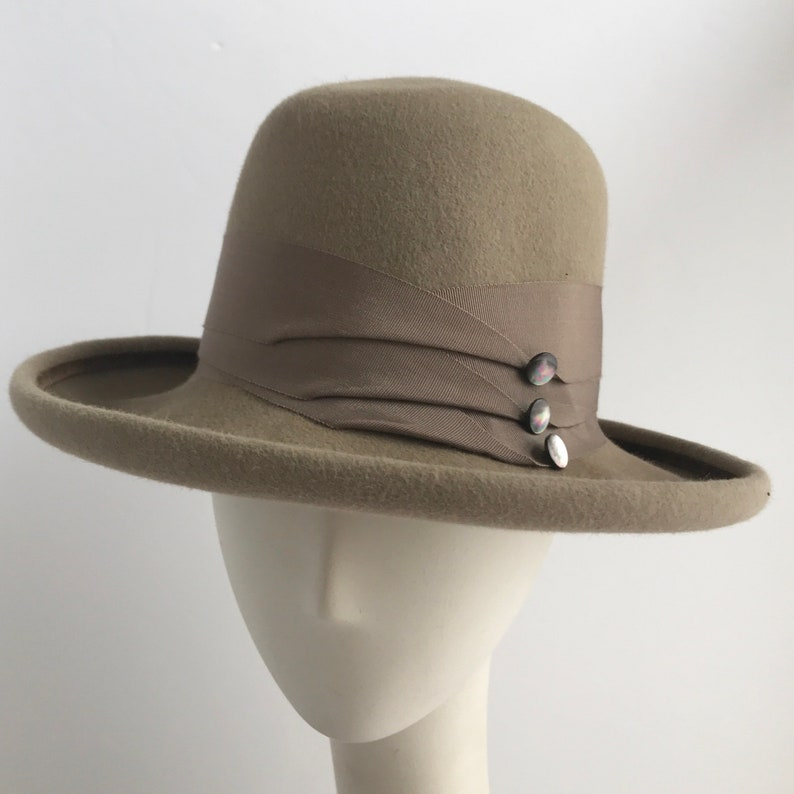 769dd3e452b6e Classic Wide Brim Fedora with Pleated Grosgrain Ribbon and