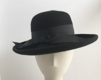 Black Bowler with Wide Brim and Black Ribbon Trim