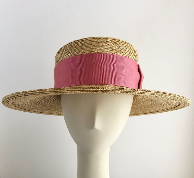 e22fd2d481d09e Classic Wide Brim Boater Hat in Natural Straw with Rose Ribbon   Etsy
