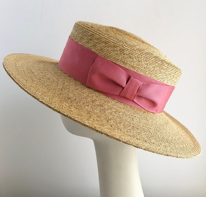 e22fd2d481d09e Classic Wide Brim Boater Hat in Natural Straw with Rose Ribbon | Etsy