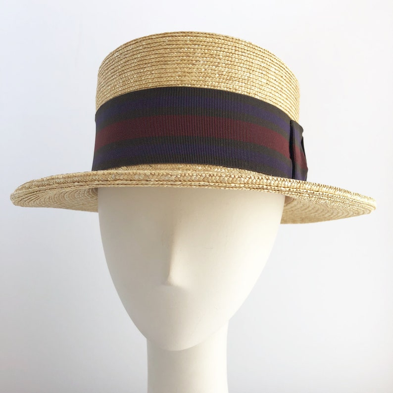 fdc7eda8d62fc8 Natural Straw Boater with Tri Color Ribbon for Weddings or   Etsy