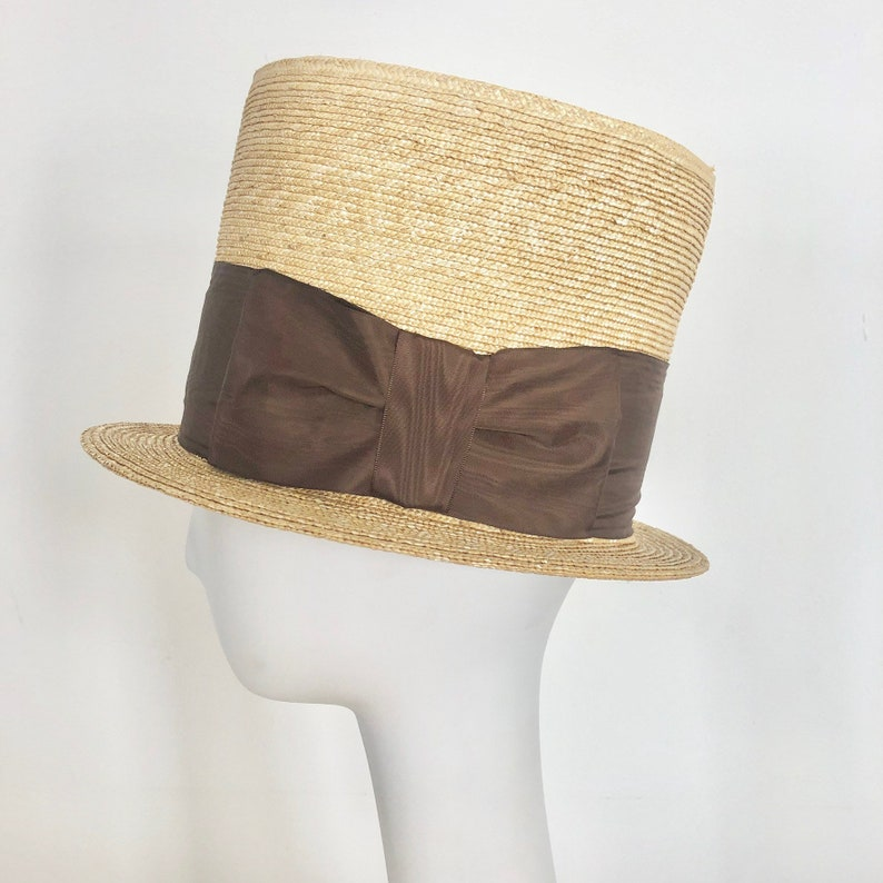 Victorian Men's Hats- Top Hats, Bowler, Gambler Straw Stove Pipe Top Hat with Brown Moire Ribbon Trim $255.00 AT vintagedancer.com