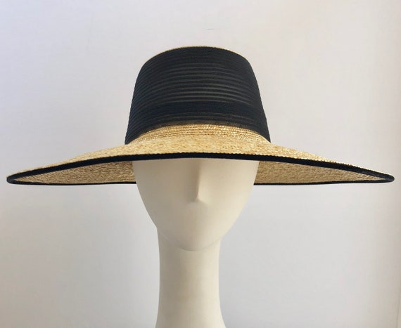 47ab60530cdba8 Classic Wide Brim Eve Hat in Fine Natural Straw with Black | Etsy