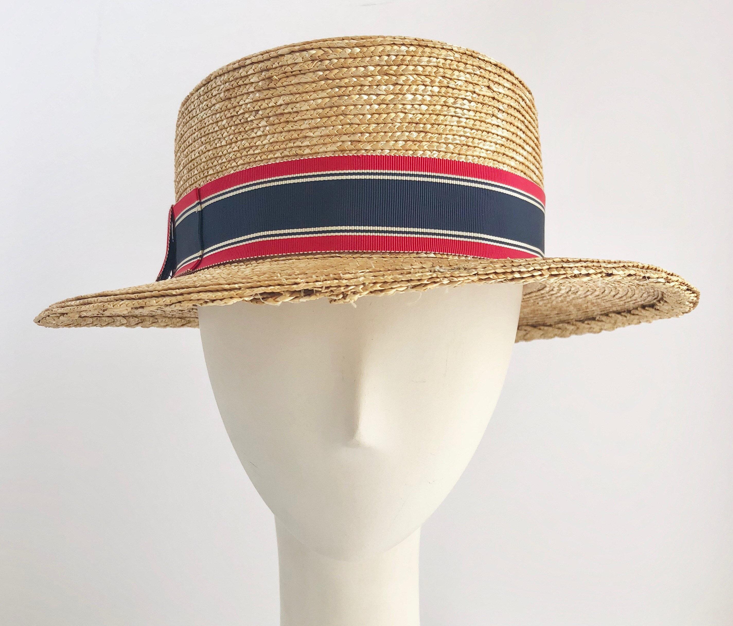 b3ad643942fa0c Classic Patriotic Straw Boater Hat   Etsy