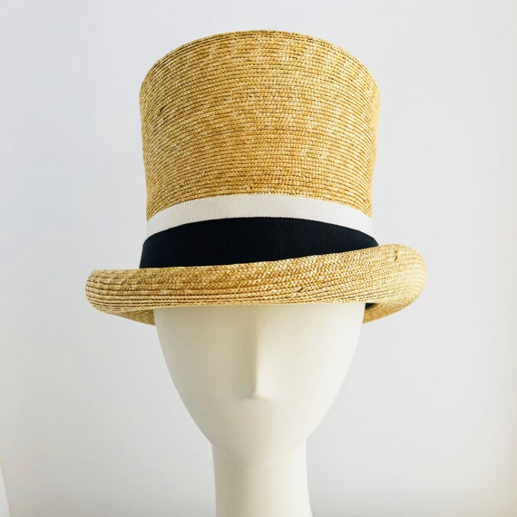 fb6f799777b Straw Top Hat with Black and White Ribbon Trim